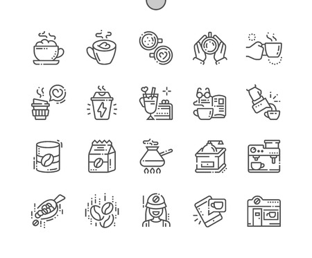 Coffee Well-crafted Pixel Perfect Vector Thin Line Icons Grid for Web Graphics and Apps. Simple Minimal Pictogram Illustration