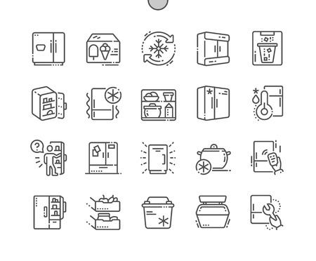 Koelkast Goed gemaakt Pixel Perfect Vector Dunne lijn Pictogrammen Raster voor webafbeeldingen en apps. Eenvoudig minimaal pictogram