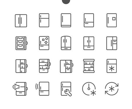 Réfrigérateur UI Pixel Parfait Grille d'icônes vectorielles fines bien conçues Grille prête pour les graphiques Web et les applications avec course modifiable. Pictogramme minimal simple Vecteurs