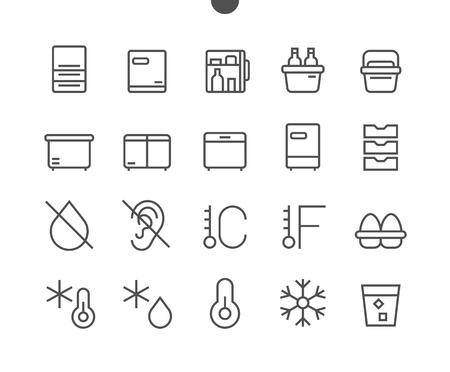 Koelkast UI Pixel Perfect Goed gemaakt Vector Dunne lijnpictogrammen Klaar voor rasterwebafbeeldingen en apps met bewerkbare lijn. Eenvoudig minimaal pictogram Stock Illustratie