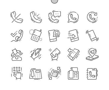 Phones Well-crafted Pixel Perfect Vector Thin Line Icons Grid for Web Graphics and Apps. Simple Minimal Pictogram Ilustração