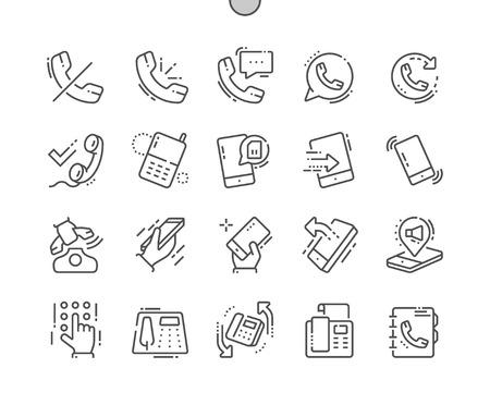 Telefony Dobrze wykonane ikony Pixel Perfect Vector Cienka linia Siatka dla grafiki internetowej i aplikacji. Prosty minimalny piktogram