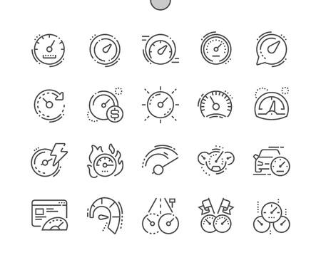 Velocímetro Iconos de líneas finas de píxeles perfectos vectoriales bien elaborados Cuadrícula de 30 2x para gráficos y aplicaciones web. Pictograma mínimo simple