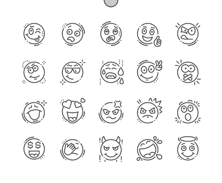 Emotions Well-crafted Pixel Perfect Vector Thin Line Icons Grid for Web Graphics and Apps. Simple Minimal Pictogram