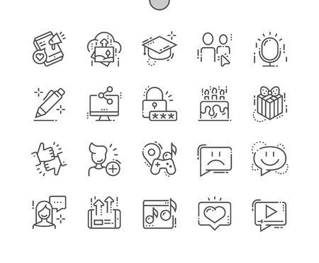 Social Icons Well-crafted Pixel Perfect Vector Thin Line Icons Grid for Web Graphics and Apps. Simple Minimal Pictogram
