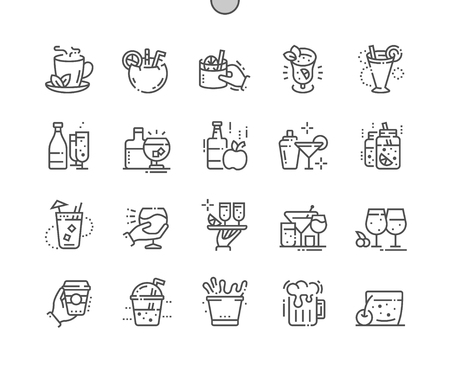 Drinks Well-crafted Pixel Perfect Vector Thin Line Icons Grid for Web Graphics and Apps. Simple Minimal Pictogram