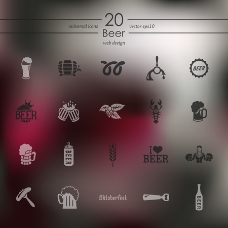 Set of various beer icons vector illustration on a gray background.