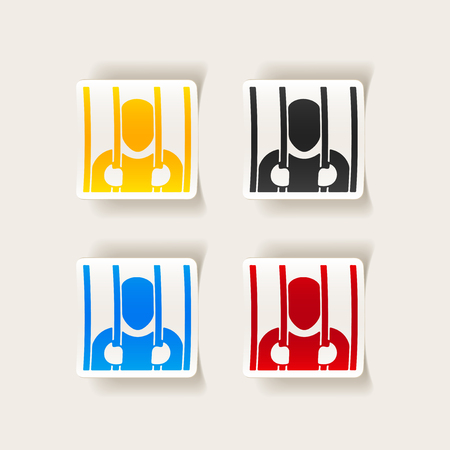 A collection set of sticker or badge design element with a realistic prisoner in jail symbol