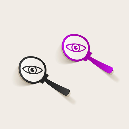 A sticker or badge design element with a magnifying glass as for detective concept Illustration