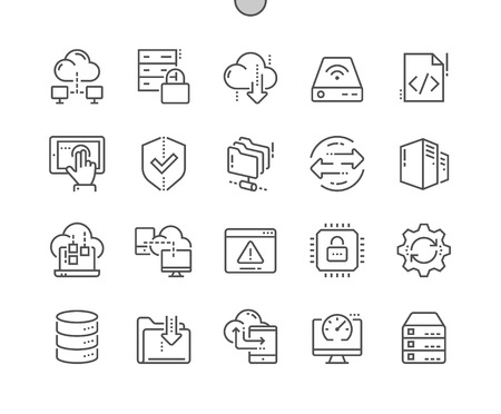 Hosting Well-crafted Pixel Perfect Vector Thin Line Icons 30 2x Grid for Web Graphics and Apps. Simple Minimal Pictogram 写真素材 - 98123727