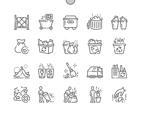 Garbage Well-crafted Pixel Perfect Vector Thin Line Icons 30 2x Grid for Web Graphics and Apps. Simple Minimal Pictogram Ilustração