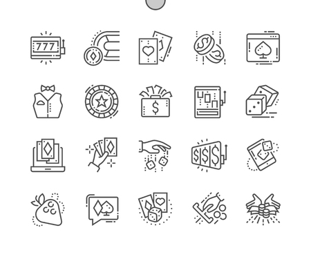 Gambling Well-crafted Pixel Perfect Vector Thin Line Icons 30 2x Grid for Web Graphics and Apps. Simple Minimal Pictogram Vectores