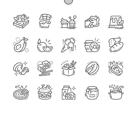 Alimentos Iconos de líneas finas vectoriales Pixel perfectos bien elaborados Cuadrícula de 30 2x para gráficos y aplicaciones web. Pictograma mínimo simple