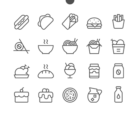 Food UI Pixel Perfect Well-crafted Vector Thin Line Icons 48x48 Ready for 24x24 Grid for Web Graphics and Apps with Editable Stroke. Simple Minimal Pictogram Çizim