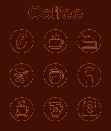 Set of coffee simple icons on thin line style illustrated on brown background