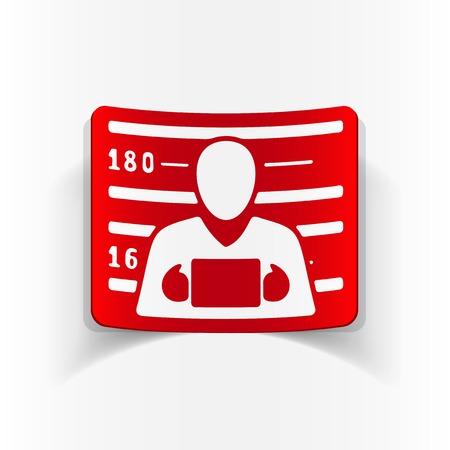 Silhouette realistic illustration of a man on his mugshot design with red and white color element. Standard-Bild - 97932388