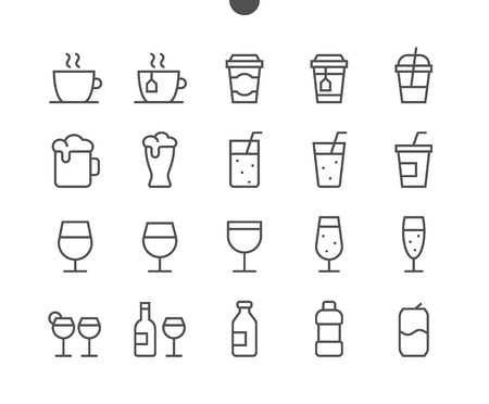 Drinks Food UI Pixel Perfect Well-crafted Vector Thin Line Icons 48x48 Ready for 24x24 Grid for Web Graphics and Apps with Editable Stroke. Simple Minimal Pictogram Illustration