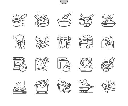 Cocinar iconos de líneas finas de Pixel Perfect Vector bien diseñados 30 Cuadrícula 2x para gráficos y aplicaciones web. Pictograma Mínimo Simple