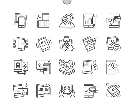 Tablet Well-crafted Pixel Perfect Vector Thin Line Icons 30 2x Grid for Web Graphics and Apps. Simple Minimal Pictogram Vectores