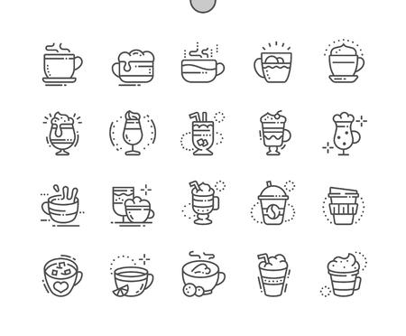 Tipi di caffè Pixel ben disegnati Icone perfette di linea sottile Icone 30 2x Griglia per applicazioni e grafica Web. Pittogramma minimale semplice Vettoriali