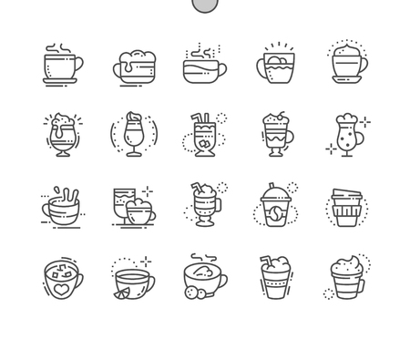 Tipos de café Iconos de línea fina de píxeles perfectos bien diseñados 30 Cuadrícula 2x para gráficos y aplicaciones web. Pictograma Mínimo Simple Ilustración de vector