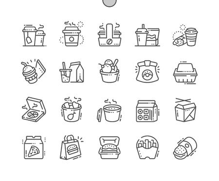 Takeaway Well-crafted Pixel Perfect Vector Thin Line Icons 30 2x Grid for Web Graphics and Apps. Simple Minimal Pictogram 일러스트