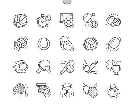 スポーツボールよく細工されたピクセルパーフェクトベクター細線アイコン30 2xグリッドWebグラフィックスとアプリ。シンプルなミニマルピクトグラ  イラスト・ベクター素材