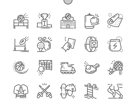 Sport Well-crafted Pixel Perfect Vector Thin Line Icons 30 2x Grid for Web Graphics and Apps. Simple Minimal Pictogram Banco de Imagens - 98141122