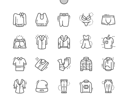 Clothes Well-crafted Pixel Perfect Vector Thin Line Icons 30 2x Grid for Web Graphics and Apps. Simple Minimal Pictogram Vectores