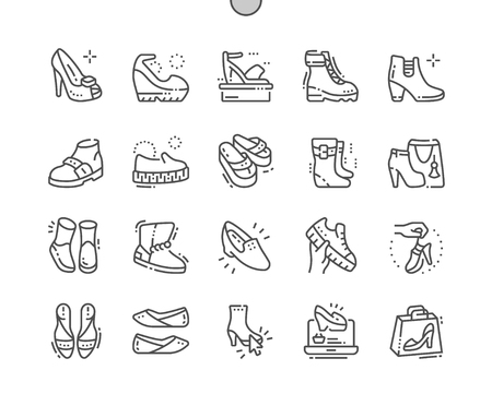 Womens shoes Well-crafted Pixel Perfect Vector Thin Line Icons 30 2x Grid for Web Graphics and Apps. Simple Minimal Pictogram 版權商用圖片 - 98081034