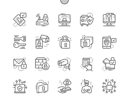 Security Well-crafted Pixel Perfect Vector Thin Line Icons 30 2x Grid for Web Graphics and Apps. Simple Minimal Pictogram
