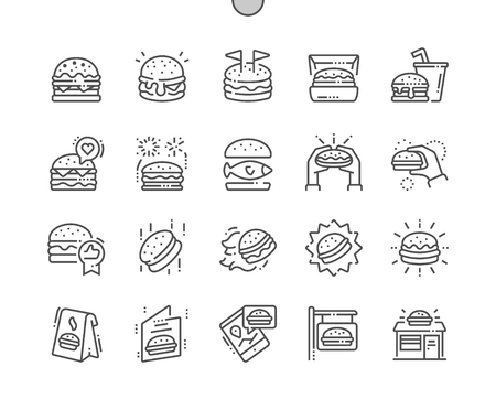 Burger Well-crafted Pixel Perfect Vector Thin Line Icons 30 2x Grid for Web Graphics and Apps. Simple Minimal Pictogram Stok Fotoğraf - 98141132