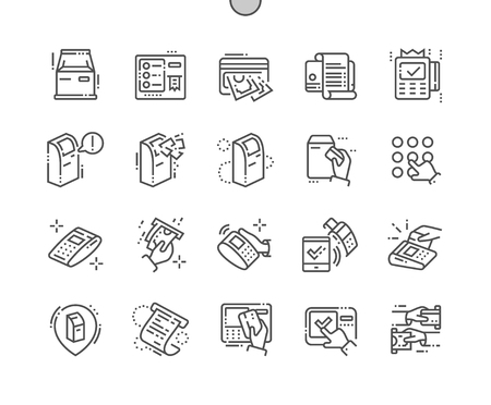 Terminal Well-crafted Pixel Perfect Vector Thin Line Icons 30 2x Grid for Web Graphics and Apps. Simple Minimal Pictogram Vettoriali