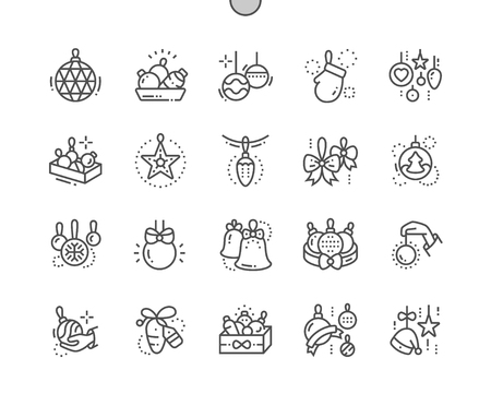 Toys on the Christmas tree Well-crafted Pixel Perfect Vector Thin Line Icons 30 2x Grid for Web Graphics and Apps. Simple Minimal Pictogram Reklamní fotografie - 98141246