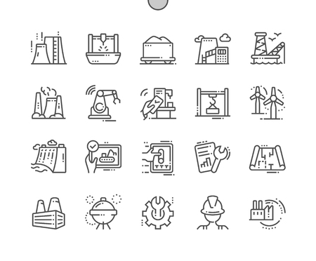 Industry Well-crafted Pixel Perfect Vector Thin Line Icons 30 2x Grid for Web Graphics and Apps. Simple Minimal Pictogram