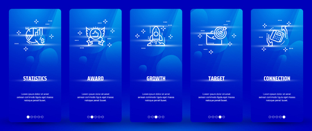 Statistics, Award, Growth, Target, Connection Vertical Cards with strong metaphors. Vector illustration.