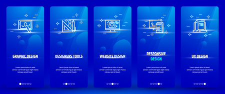 Designers tools, Website design Vertical Cards with strong metaphors.