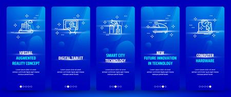 Concepto de realidad aumentada virtual, tableta digital, tecnología de ciudad inteligente, nueva innovación futura en tecnología, tarjetas verticales de hardware de computadora con metáforas fuertes.