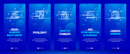 Virtual augmented reality concept , Digital tablet, Smart city technology, New future innovation in technology, Computer hardware Vertical Cards with strong metaphors. 矢量图像