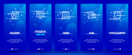 Solutions, Statistical analysis, Plan, Events planning, Timing Vertical Cards with strong metaphors. 일러스트