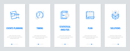 Events planning, Timing, Statistical analysis, Plan, Solutions Vertical Cards with strong metaphors.