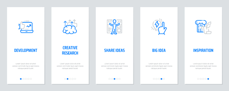 開発、創造的な研究、共有のアイデア、大きなアイデア、強いメタファーを持つインスピレーションコンセプト垂直カード。ベクターの図。  イラスト・ベクター素材