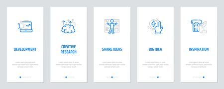 Ontwikkeling, Creatief onderzoek, Ideeën delen, Groot idee, Inspiratieconcept Verticale kaarten met sterke metaforen. Vector illustratie Stock Illustratie