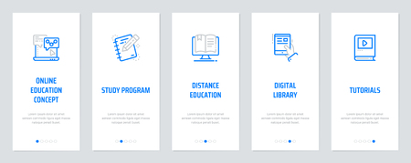 Online education concept, Study program, Distance education, Digital library, Tutorials Vertical Cards with strong metaphors. Vector illustration.