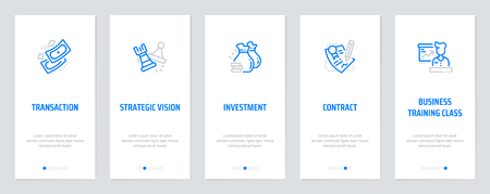 Transaction, Strategic vision, Investment, Contract, Business training class Vertical Cards with strong metaphors. Vector illustration.