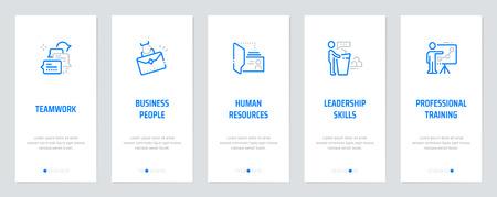 Lavoro di squadra, uomini d'affari, risorse umane, capacità di leadership, formazione professionale Carte verticali con metafore forti. Illustrazione vettoriale