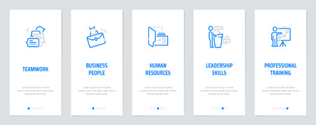 Trabajo en equipo, gente de negocios, recursos humanos, habilidades de liderazgo, formación profesional Tarjetas verticales con fuertes metáforas. Ilustración vectorial