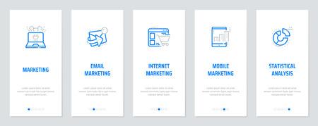 Marketing, Email marketing, Internet marketing, Mobile marketing, Statistical analysis Vertical Cards with strong metaphors. Vector illustration. Illustration