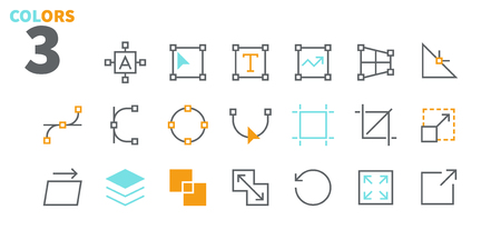 Graphic Design Pixel Perfect Well-crafted Vector Thin Line Icons 48x48 Ready for 24x24 Grid for Web Graphics and Apps with Editable Stroke. Simple Minimal Pictogram Part 1-4