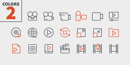 Audio Video Pixel Perfect Well-crafted Vector Thin Line Icons 48x48 Ready for 24x24 Grid for Web Graphics and Apps with Editable Stroke. Simple Minimal Pictogram Part 4 Ilustrace
